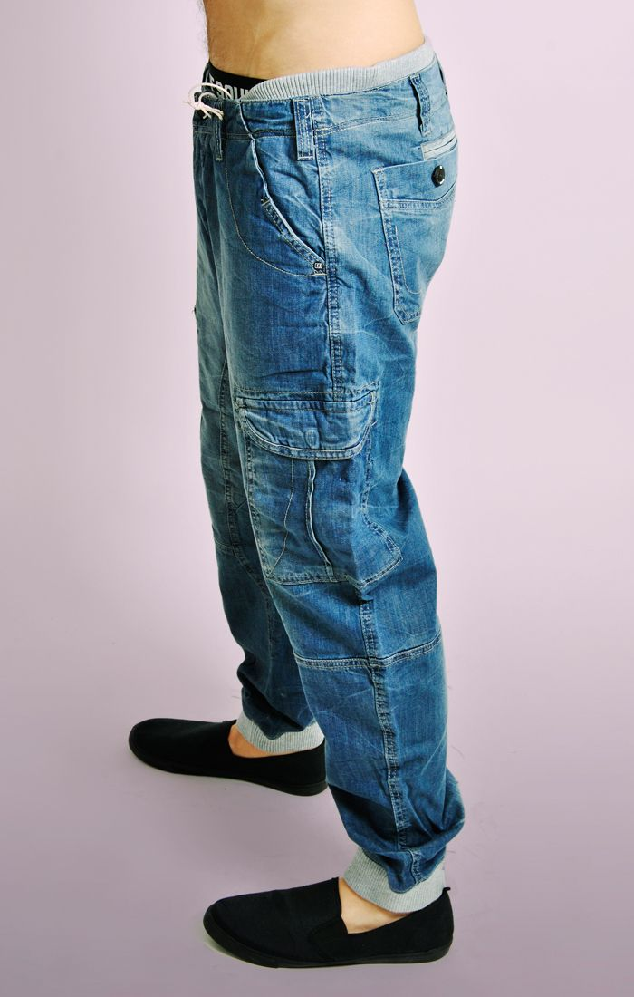 Blue Denim Jeans With Grey Ribbed Waistband Amp Cuffs